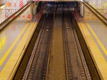 Subway railroads, empty station Stock Photos