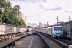 Subway rails of são paulo in details stock image