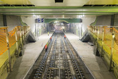 Subway rails during tunnel construction stock photography