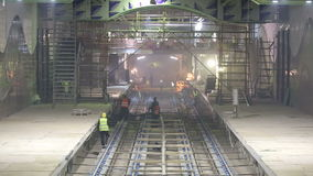 Subway rails during tunnel construction stock footage