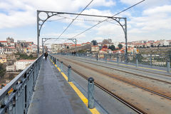 Subway railway tracks and electric cables on the superior deck of the Dom Luis I bridge Royalty Free Stock Image