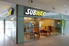 Subway restaurant. BERLIN, GERMANY - AUGUST 26, 2014: Sandwich seller waits for customers in Subway restaurant at a railway station in Berlin. Subway has 44,852 Royalty Free Stock Photos
