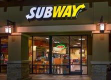 Subway Restaurant Exterior. SANTA CLARITA, CA/USA - DECEMBER 18, 2014:  Subway Restauraut exterior. Subway is an American fast food restaurant franchise that Stock Photos