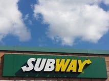 Subway restaurant sign stock image