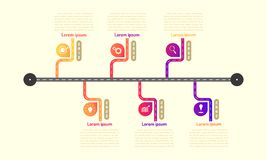 Subway roadmap timeline elements with markpoint graph think search gear target icons. vector illustration eps10. Subway roadmap timeline elements vector stock illustration