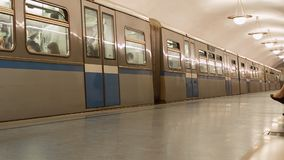 Subway in rush hour stock footage