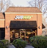 Subway Sandwich Shop. Subway serves a variety of hot gourmet sub sandwiches. Made with premium meats and cheeses, steamed hot and piled high on a toasted sub Royalty Free Stock Images