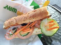 SUBWAY sandwich on a table Royalty Free Stock Images