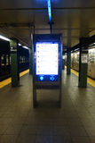 New York City Subway Schedule. A screen with the subway schedule at the Union Square station, in New York City Stock Image