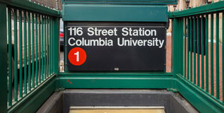 Subway sigh Columbia University. In New York Royalty Free Stock Images