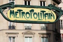 Subway sign in art nouveau, Paris Stock Photos