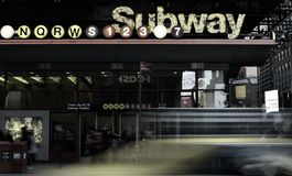 Subway Sign Lights at Times Square NYC Rush Hour Cars Taxi Streets stock images
