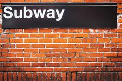 Subway sign of metro access in New York City royalty free stock photo
