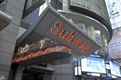 Subway sign in Times Square Stock Image