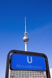 Subway sign and TV-Tower in Berlin. Subway sign and TV-Tower on Alexanderplatz in Berlin Stock Image