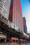 Subway among skyscraper. In Chicago, IL Stock Photo