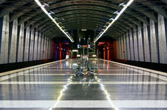 Subway station. Moscow metro station with metal benches in the center Royalty Free Stock Photography