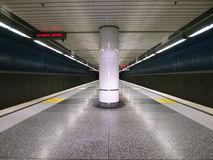 Subway Station. A empty but colorful modern subway platform Royalty Free Stock Photos