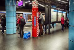 Subway station in central Munich. Munich, people at a subway station  waiting for their train on the platform Stock Photo
