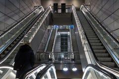 Subway station in Copenhagen. Metro subway station with escalators in Copenhagen, Denmark royalty free stock image