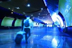 Subway station corridor light-emitting screen. Shanghai subway station corridor light-emitting screen stock photo