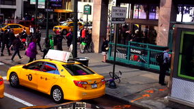 Subway Station Entrance or Exit at 34 street Manhattan USA cityscapes stock video footage
