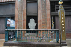 Subway Station entrance at Lexington Avenue in Manhattan Stock Photography