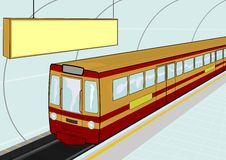 Subway station. Illustration of a electric train standing at the station. Vector Stock Images