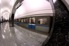 Subway station interior train motion Royalty Free Stock Images