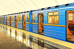 Subway station in Kiev underground Stock Photo