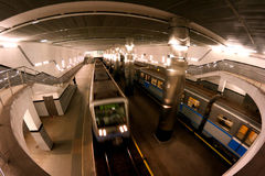 Subway station Moscow trains Royalty Free Stock Images