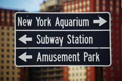 Subway station nearby new york  landmarks. Its very comfortable for visitors of New York  by subway to get to New York Aquarium and Amusement park ,from Royalty Free Stock Photography