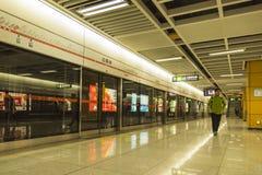 Subway station platform. Baiguolin subway station. This photo was taken in Chengdu city,sichuan province,china Stock Photo