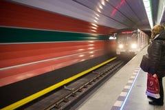 Subway station in Prague. Subway metro arriving at platform in Prague, Czech Republic stock images