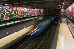 Subway station in Santiago de Chile. Santiago de Chile, Chile - November 28, 2015: Train arrived at subway station Parque Bustamante Stock Image