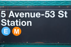 Subway Station sign.New York City (USA) Royalty Free Stock Images