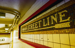 Subway station signs and directions, New York Royalty Free Stock Images