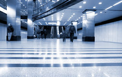 Subway station with train in motion Royalty Free Stock Images