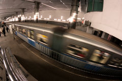 Subway station train motion Stock Photography