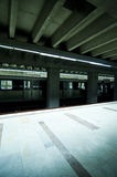 Subway station with train stoped Stock Images