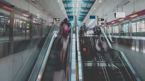 Subway Station And Unrecognizable People. Unrecognizable People in Subway Station in Hong Kong MTR stock footage