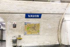 Subway station  Vavin in Paris Royalty Free Stock Images