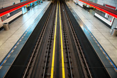 Subway station view on rails Royalty Free Stock Photos