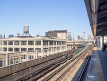 Subway station with view to Manhattan, New York City Stock Photos