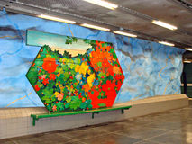 Subway in Stockholm. Stadion Metro Station in Stockholm - Sweden Royalty Free Stock Photography