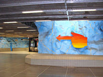 Subway in Stockholm. Stadion Metro Station in Stockholm - Sweden Royalty Free Stock Images