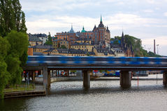 The subway in Stockholm. The train of the subway moving on the bridge, Stockholm, Sweden royalty free stock image