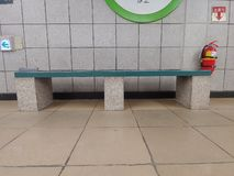 Subway stone bench. Green simple royalty free stock images
