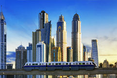 Subway at sunset in Dubai Marina Royalty Free Stock Image