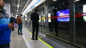Subway system in city of Guangzhou stock footage